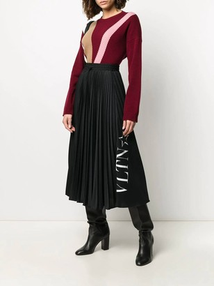 Valentino Black And White Pleated Midi Skirt
