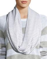 Striped Knit Infinity Scarf, White/Dark Pearl