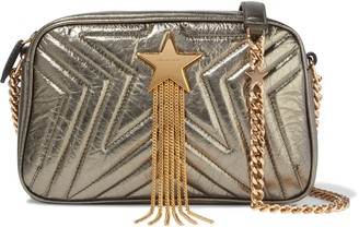 Stella McCartney Stella Star Metallic Quilted Faux Leather Shoulder Bag