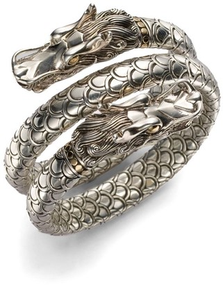 John Hardy Naga 18K Yellow Gold & Sterling Silver Dragon Head Double Coil Bracelet