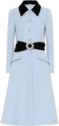 Miu Miu Velvet-trimmed wool coat