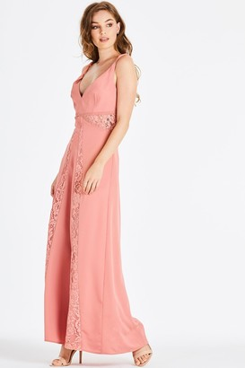 Little Mistress Miranda Orange Lace Plunge Maxi Dress