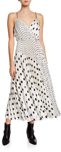 Jill Stuart Mixed Polka Dot Print Sleeveless Satin Charmeuse Dress