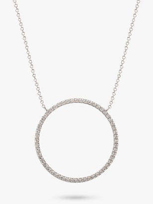 Emily Mortimer Jewellery 9ct White Gold Topaz Circle Pendant Necklace