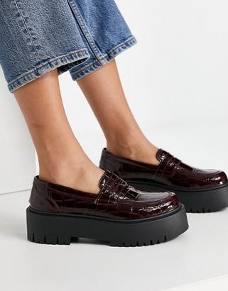 Topshop platform loafers in burgundy