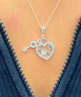 Swarovski Sevil 925 Women's Necklaces - Sterling Silver Key & Heart Pendant Necklace With Crystals