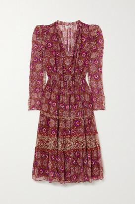 Ulla Johnson Alessandra Ruffled Tiered Printed Fil Coupe Silk-blend Midi Dress - Burgundy