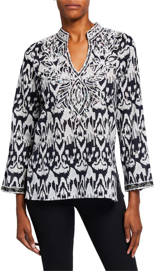 Bella Tu Ikat Applique Tunic with Mandarin Collar