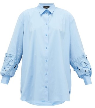 Rochas Floral-embroidered Sleeve Cotton-poplin Shirt - Womens - Blue