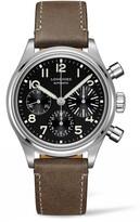 Longines Aviation Big Eye Automatic Chronograph Leather Strap Watch, 41mm