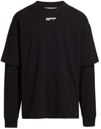 Off-White Masked Face Double-Sleeve T-Shirt