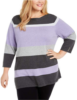 Karen Scott Plus Size Striped Ballet Neck Cotton Sweater