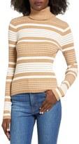 BP Women's Stripe Rib Knit Turtleneck Top