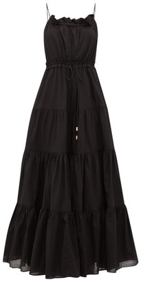 Aje Banksia Tiered Cotton Maxi Dress - Womens - Black
