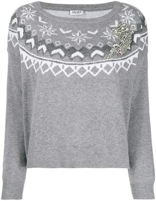Liu Jo crystal-embellished Fair Isle jumper