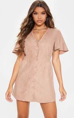 PrettyLittleThing Taupe Faux Suede Button Front Shirred Side Shift Dress