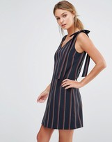 Oasis Stripe Bow Shoulder Dress
