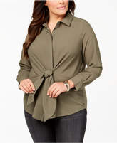INC International Concepts I.n.c. Plus Size Tie-Front Tunic Shirt, Created for Macy's