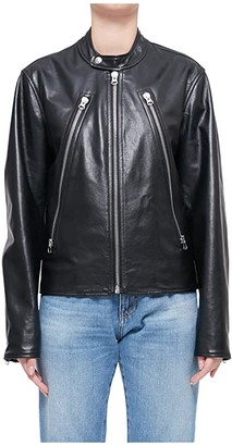 MM6 MAISON MARGIELA Classic Mainline Style Leather Jacket (Black) Women's Clothing