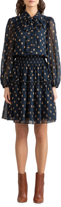 Shoshanna Dane Sheer Geo Clip Tie-Neck Smocked-Waist Dress