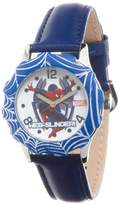 Spiderman Marvel Comics Kids' W000315 Marvel Tween Stainless Steel Blue Bezel Blue Leather Strap Watch