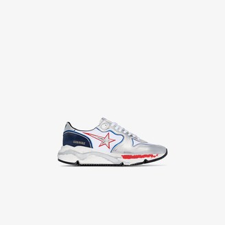 Golden Goose blue and silver Running Sole leather sneakers