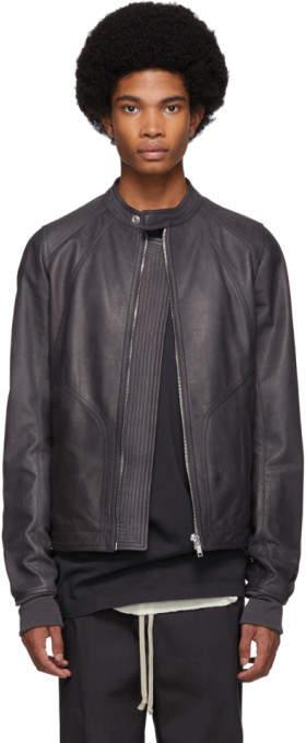 Rick Owens Grey Leather Intarsia Jacket