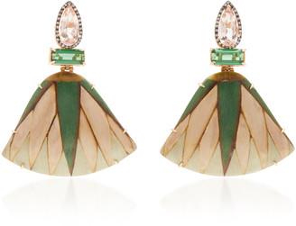 Silvia Furmanovich 18K Gold Marquetry Tourmaline and Diamond Earrings