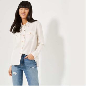 Joe Fresh Women's Soft Utility Shirt, Off White (Size S)