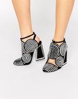 Kat Maconie Frida Black Leather Silver Spiral Heeled Shoes