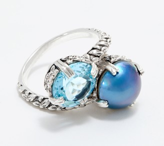 Stephen Dweck Sterling Silver Blue Topaz & Cultured Pearl Bypass Ring