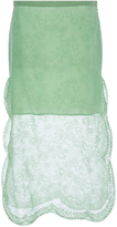 Rochas Mint Green Silk Skirt with Lace Overlay
