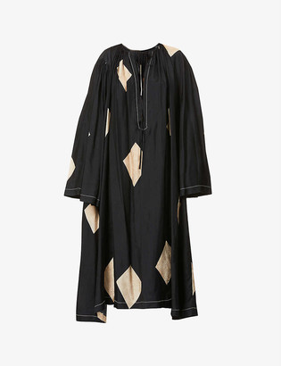 UMA WANG Arlene abstract-pattern satin maxi shift dress