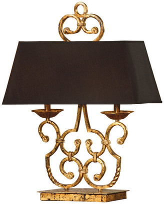 Crestview Collection Charleston Gold Leaf And Antique Black Iron Twin Light Table Lamp