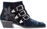 Chloé Susanna Studded Velvet Ankle Boots - Navy