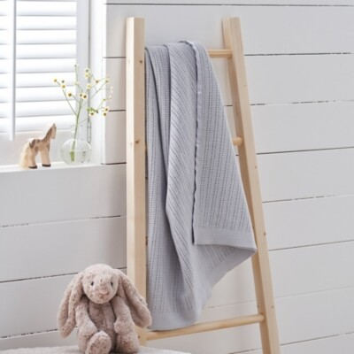 The White Company Satin-Edged Cellular Blanket, Grey, One Size