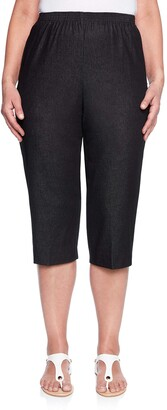 Alfred Dunner Women's Around Denim Petite Capris Pants-Elastic Waist Jeans