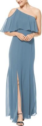 #Levkoff One-Shoulder Chiffon A-Line Gown
