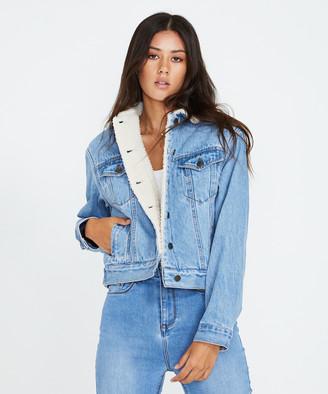 Insight Pixie Denim Borg Jacket Hollywood Blue