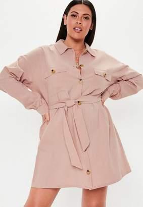 Missguided Plus Size Pink Mock Horn Button Linen Look Shirt Dress