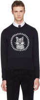 Thom Browne Navy Thom Cat Icon Crewneck Pullover