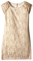 Us Angels Bonded Met Knit Lace Cap Sleeve Fitted Sheath w/ Sequins (Big Kids)