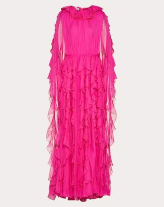 Valentino Chiffon Evening Dress With Ruffles Women Pink Silk 100% 44