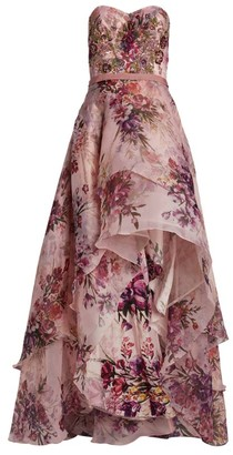 Marchesa Floral Layered Gown