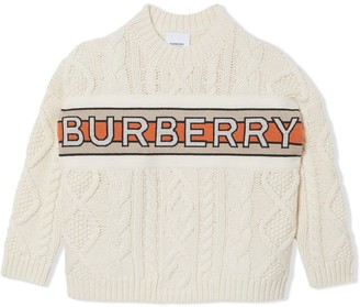BURBERRY KIDS Logo Panel Cable Knit Wool Cashmere Jumper