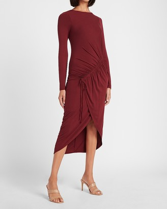 Express Ruched Drawstring Front Long Sleeve Sheath Dress