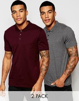 Asos 2 Pack Jersey Polo Shirt In Gray/Burgundy SAVE