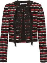 Oscar de la Renta Cropped embellished wool and cotton-blend jacket