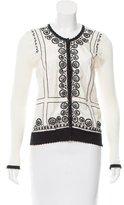 Blumarine Embroidered Silk-Accented Cardigan