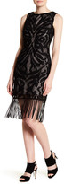 Julia Jordan Sleeveless Knit Fringe Dress